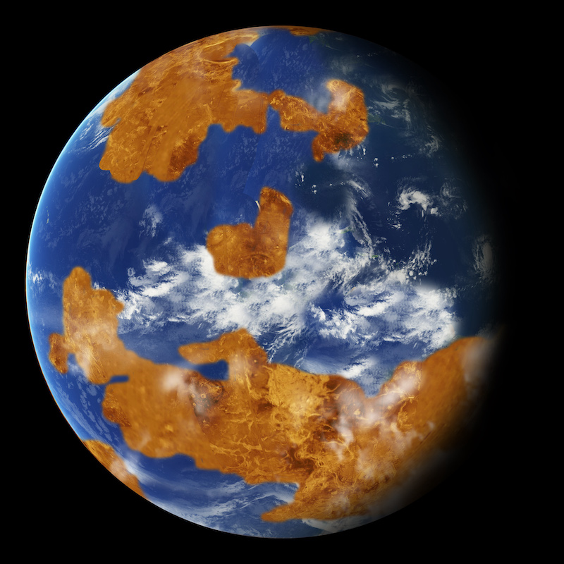 Earth-like planet in space.