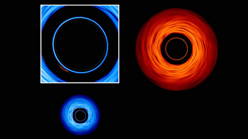 Bright blue and red rings on black background.