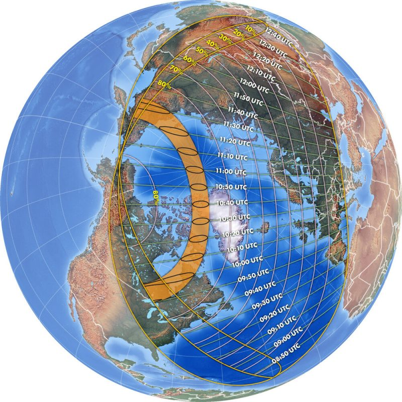 Earth globe with time zones and path of solar eclipse marked.