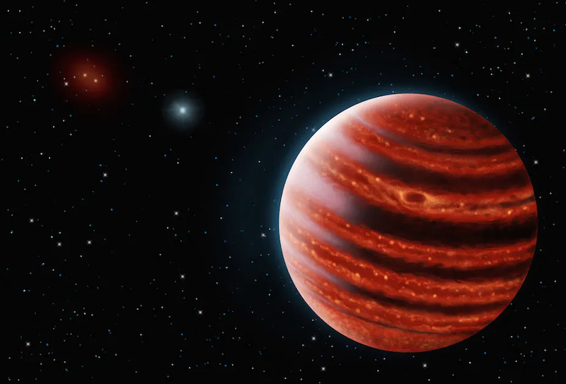 Large glowing Jupiter-like planet with sun in distance.
