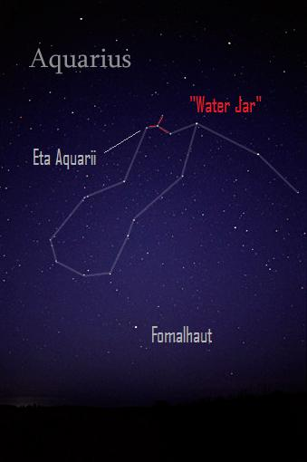 Sky chart of constellation Aquarius with Water Jar marked in red.