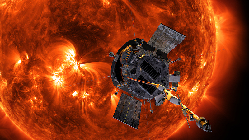 Spacecraft near the sun, which has huge solar flares.