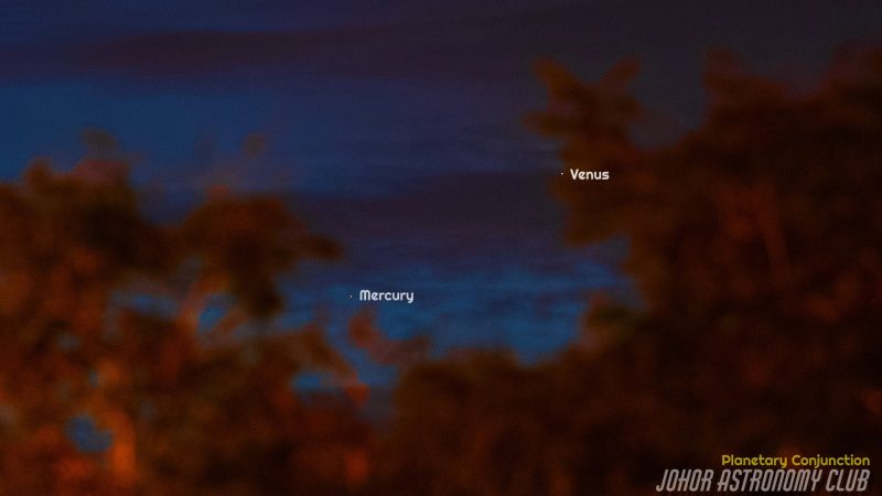 A twilight sky, with clouds, and the Mercury-Venus conjunction.