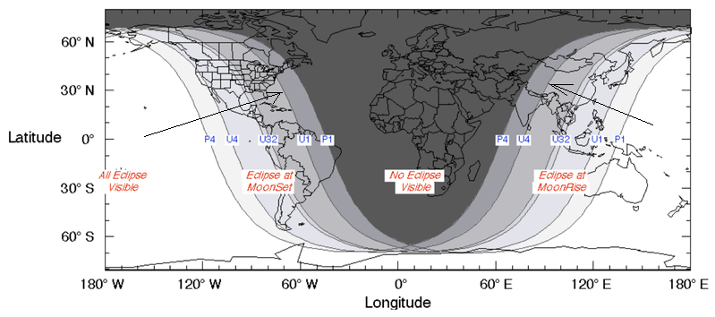 Worldwide map of day and night at partial eclipse.