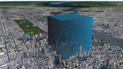 Computer graphic of Manhattan with large blue block towering over a portion.