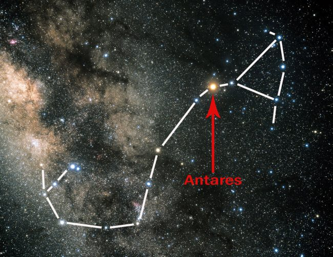 Star chart superimposed over a photo of the Milky Way, with an arrow pointing to Antares.