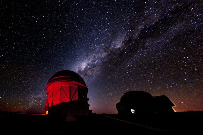 A red telescope dome under a dark sky, with the Milky Way arcing above.