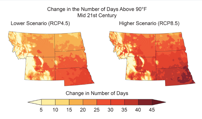map of hot days