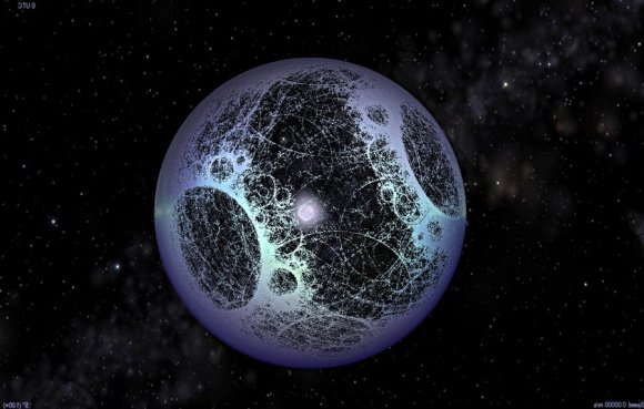 A sphere with bright and darker areas on it surrounding a star.