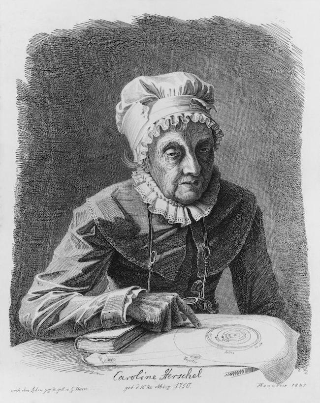 The Caroline Herschel Medal is named for this woman, wearing obviously dated clothing, pointing at a paper with circles drawn on it.