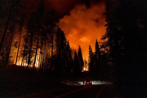 The Dixie Fire burned near Quincy, Calif., on Monday.