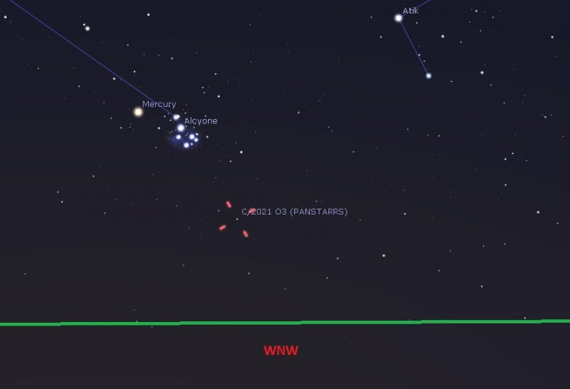 Map of west-northwest horizon showing Mercury, Pleiades and new comet inside red tick marks.