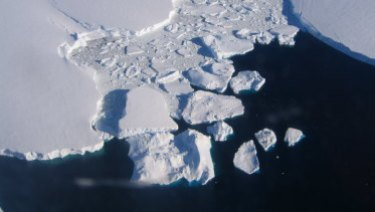 Sea ice is breaking apart and melting because of human-induced climate change.