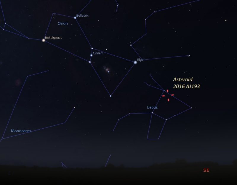 Star chart showing location of asteroid on August 21, 2021.