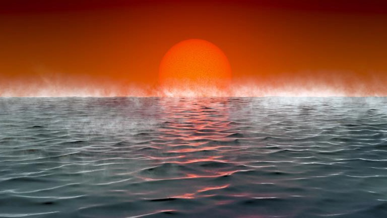 Hycean planets: Big orange sun setting over an ocean, with rising mist.