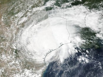 harvey parked over texas