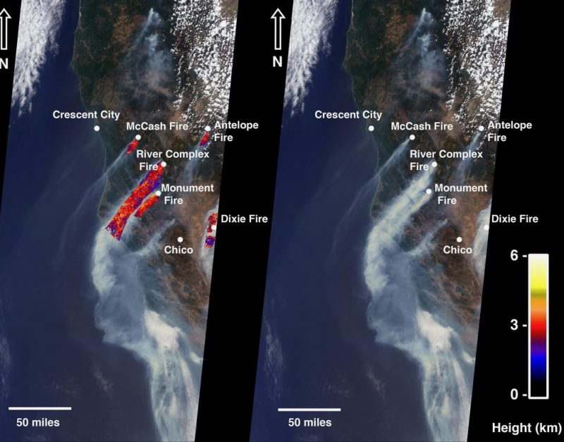 Late summer 2021 fires: 2 orbital views of California with labeled dots for fires and long streamers out from them.