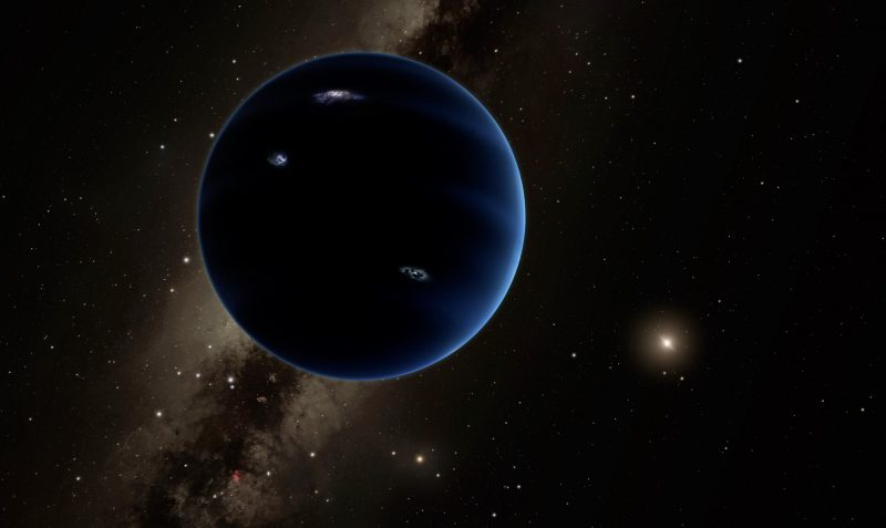 Planet Nine: Dark blue planet with white marks in shadow with sun in extreme distance.
