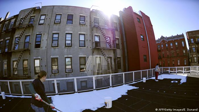 Volunteers paint a schools roof with a special white paint that reflects nearly 80% of sunlight in New York