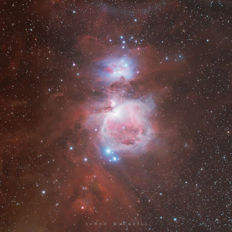 A swirly, pink and blue figure 8 shaped cloud in a star field.