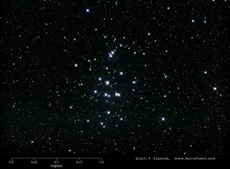 Close-together sprinkling of dozens of bright white stars on field of many much fainter stars.