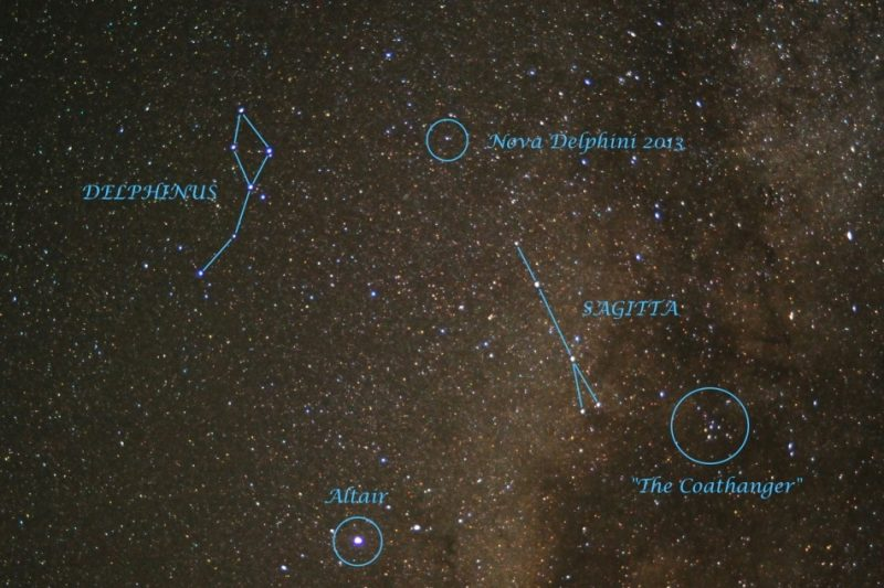 Star field with small dot circled in blue and labeled Nova.