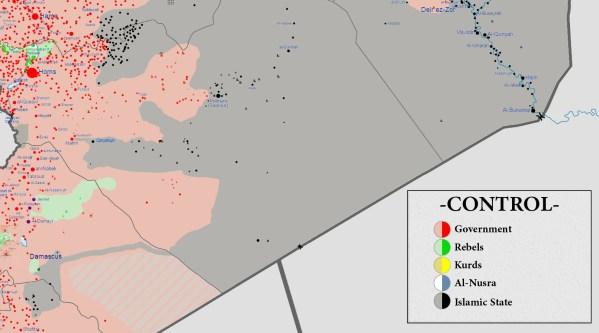 Lage und Machtgebiete um Palmyra vom 26.8.2015
