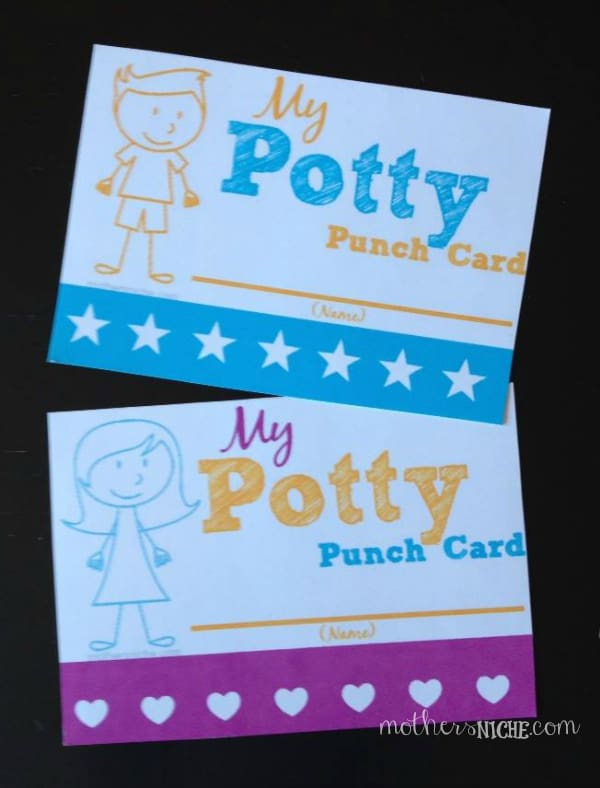 free potty punch card printable