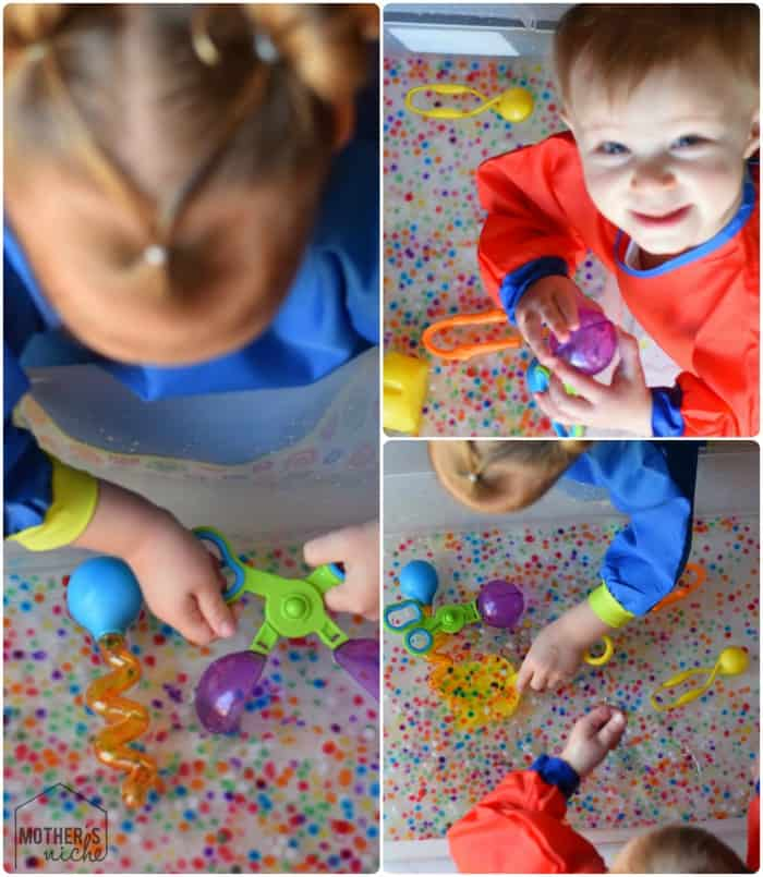 Water Beads are a favorite at our house! You can bounce them, squish them, sort them , strain them, or get our your toys and just play! AWESOME for development skills!
