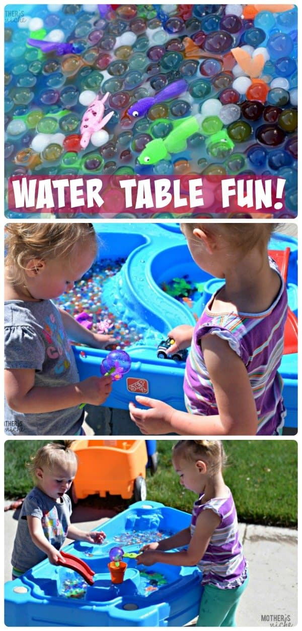 Water Table Fun with water beads and fish