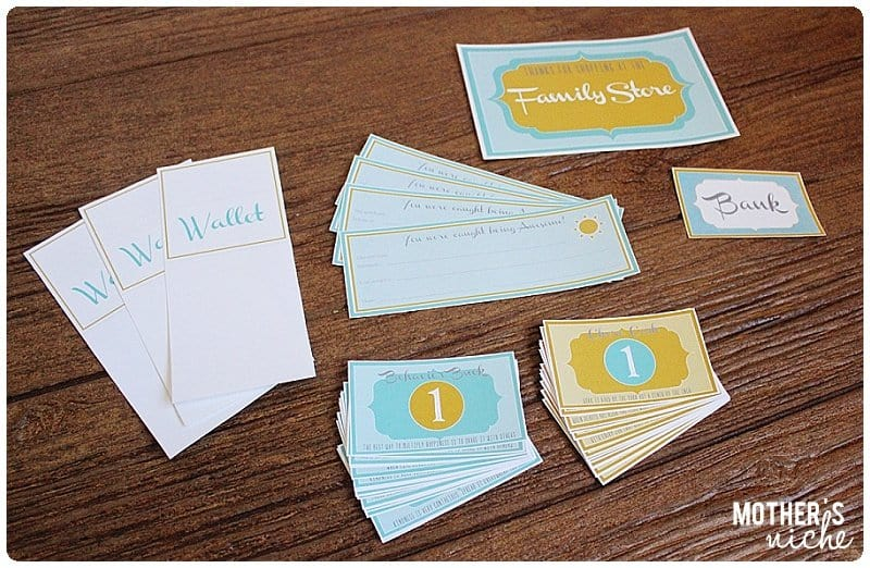 Free Printables for creating a family store! Great way to motivate good behavior/chores