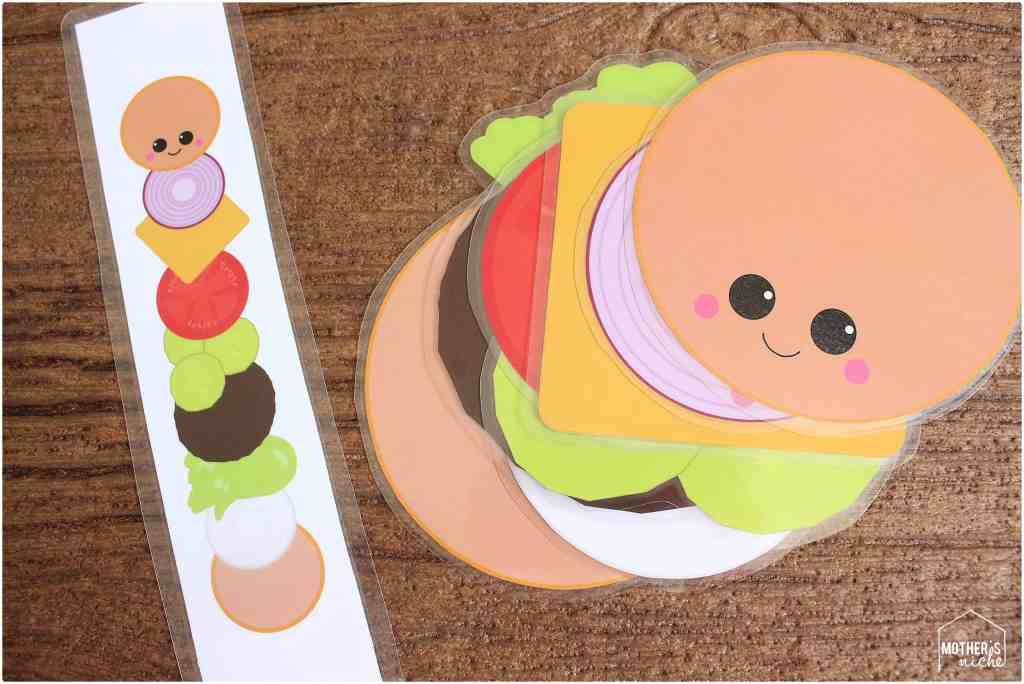 Build a hamburger busy bag