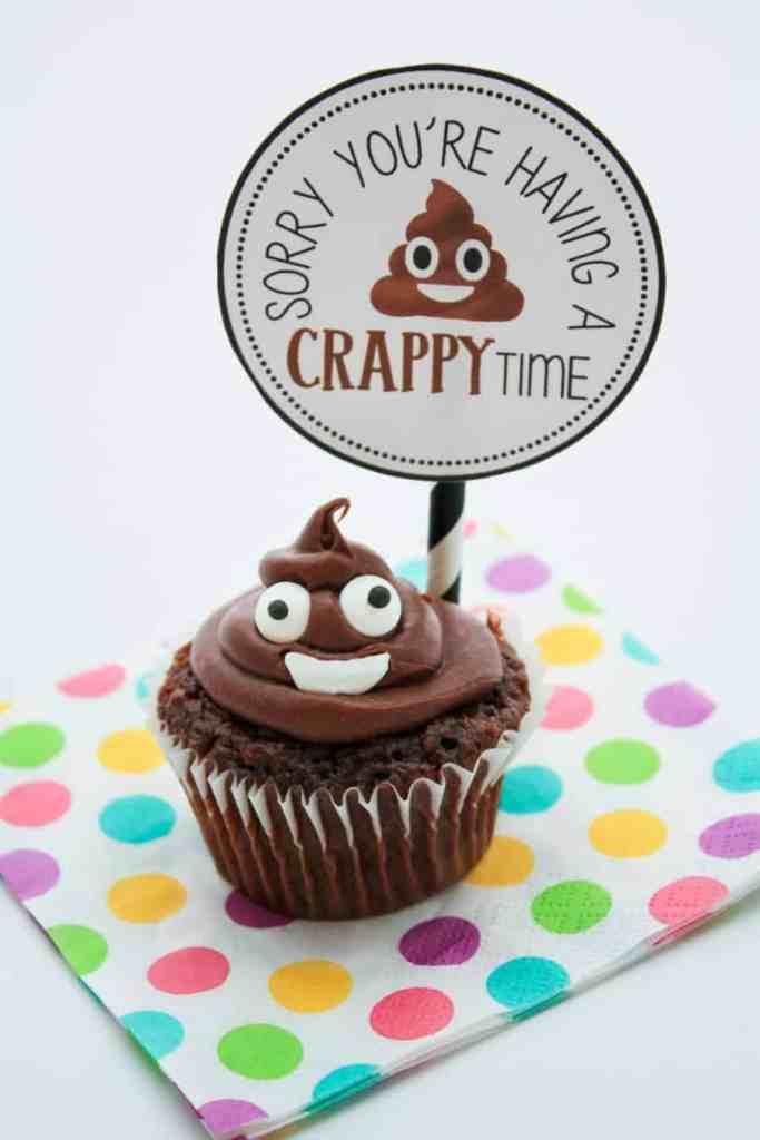 poop emoji cupcake + tag