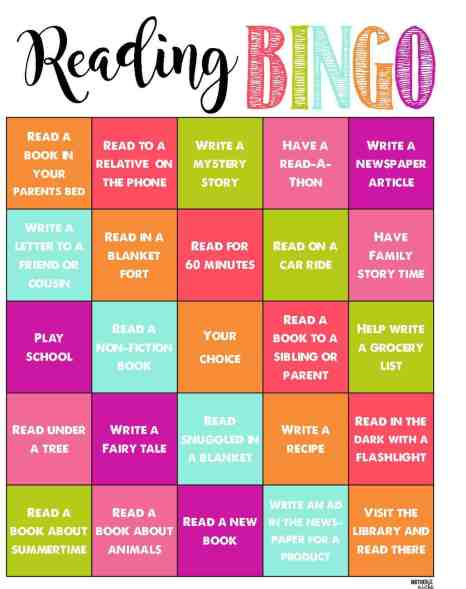 Reading BINGO for summer- Summer Reading Program- Fun and Positive way to keep the kids learning all summer
