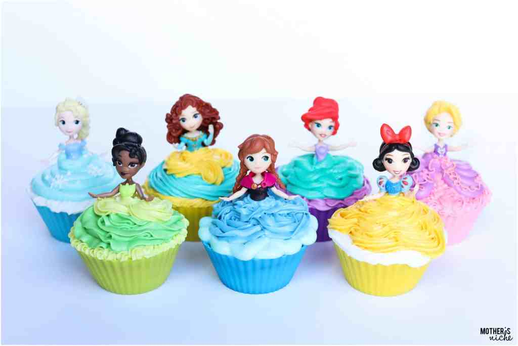 Easy and Beautiful Disney Princess Cupcakes with video tutorial