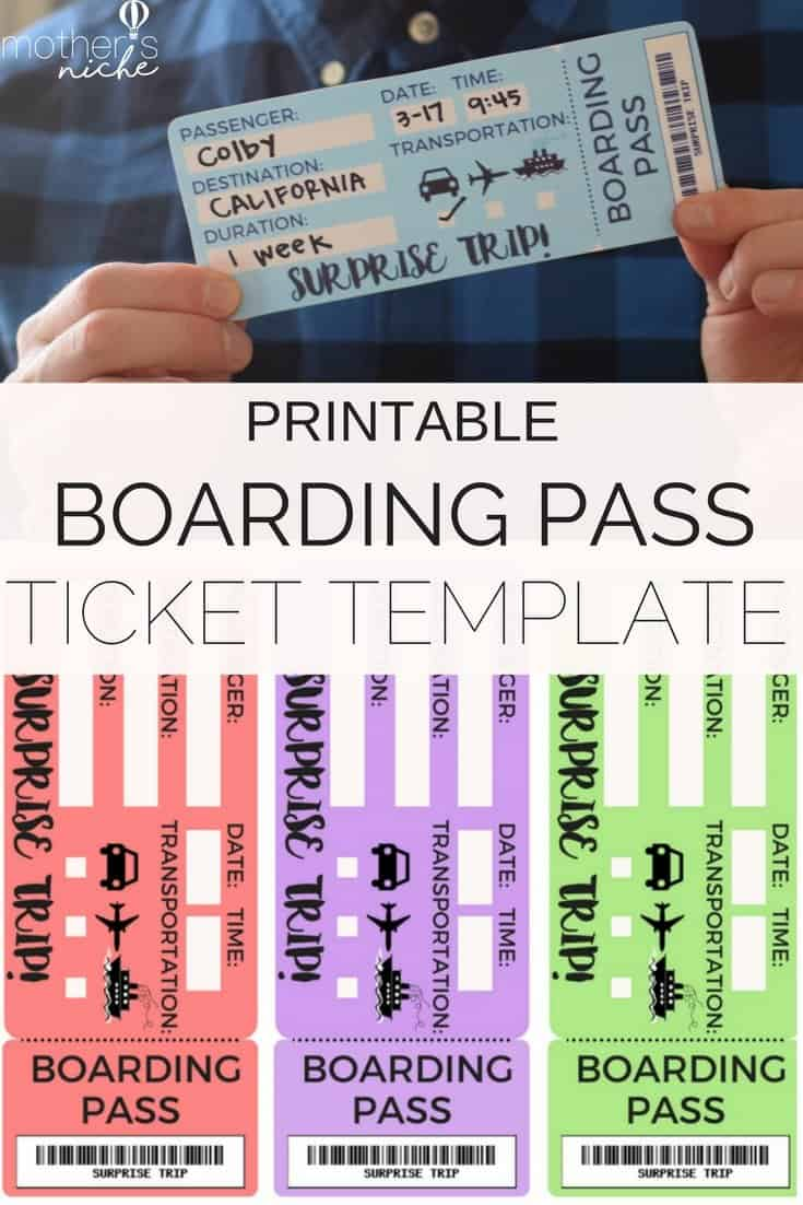 Printable Tickets Template: Boarding Passes for Surprise Vacation