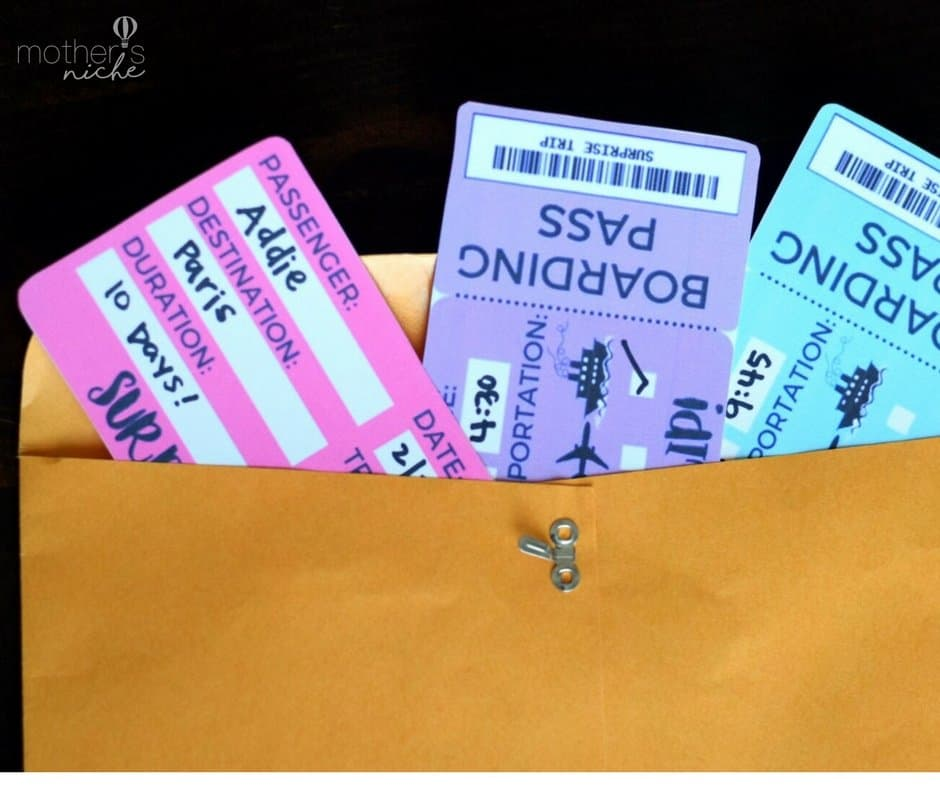 printable tickets template boarding passes for surprise vacation