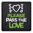 "logo for Please Pass the Love. Heart with two stick figures touching it with text ""Please pass the love"""