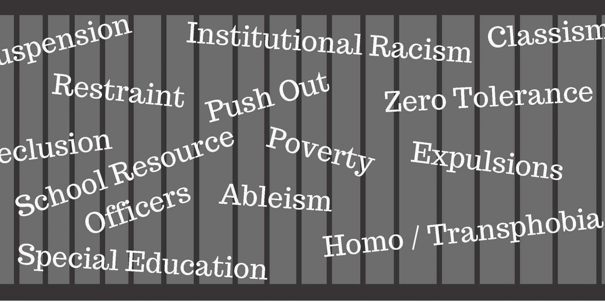 image of black bars against grey background. White words written over bars: Suspension, Restraint, Seclusion, School Resource Officers, Special Education, Institutional Racism, Push Out, Poverty, Ableism, Classism, Zero-Tolerance, Expulsions, Homo-Transphobia