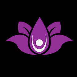 logo: purple lotus flower with white figure inside holding arms up on black background