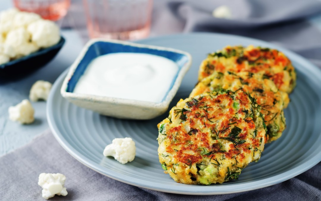 Pea cauliflower fritters (Vegan, Vegetarian)