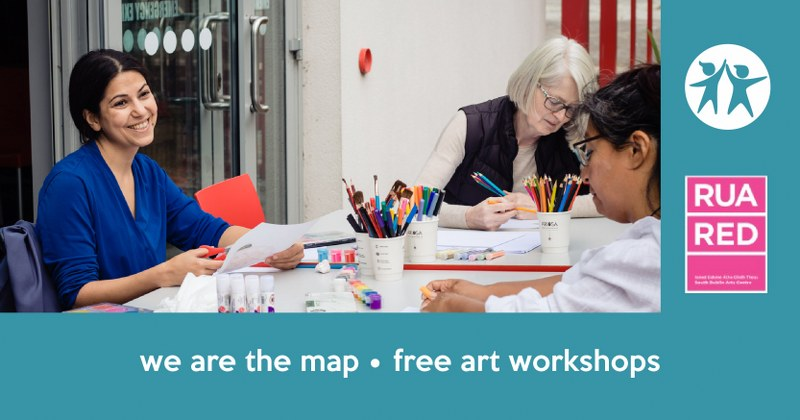 free art workshops banner with Nasrin Golden