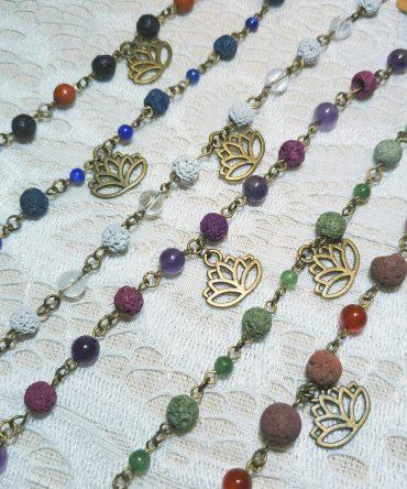 Lotus Charm & Lava Diffuser Bracelet