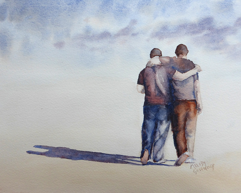 watercolor sketch of two men walking with their arms around each other