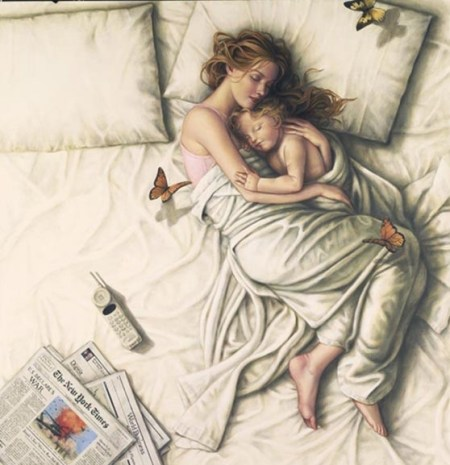 drawing of a mother and child cuddling on a bed