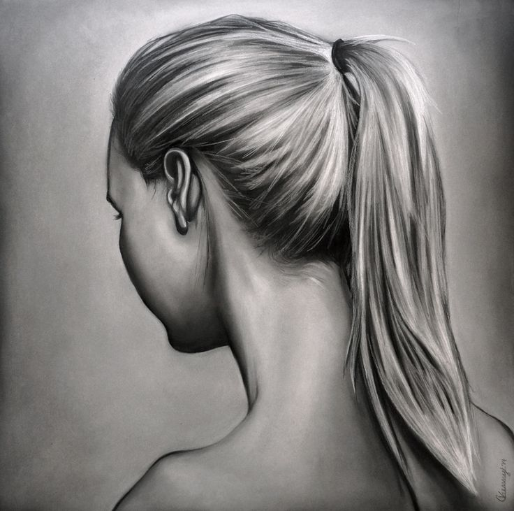 grayscale women with long blonde ponytail looking in opposite direction