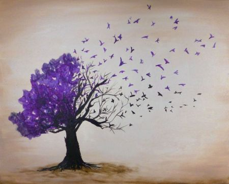 purple leaves flying like birds off a black tree