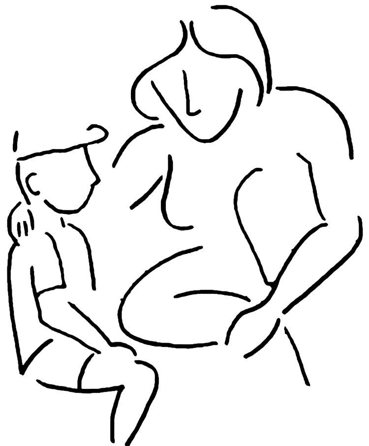 silhouette of mother counseling young boy