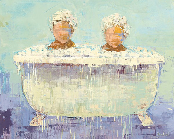 two little boys covered in bath-time bubbles