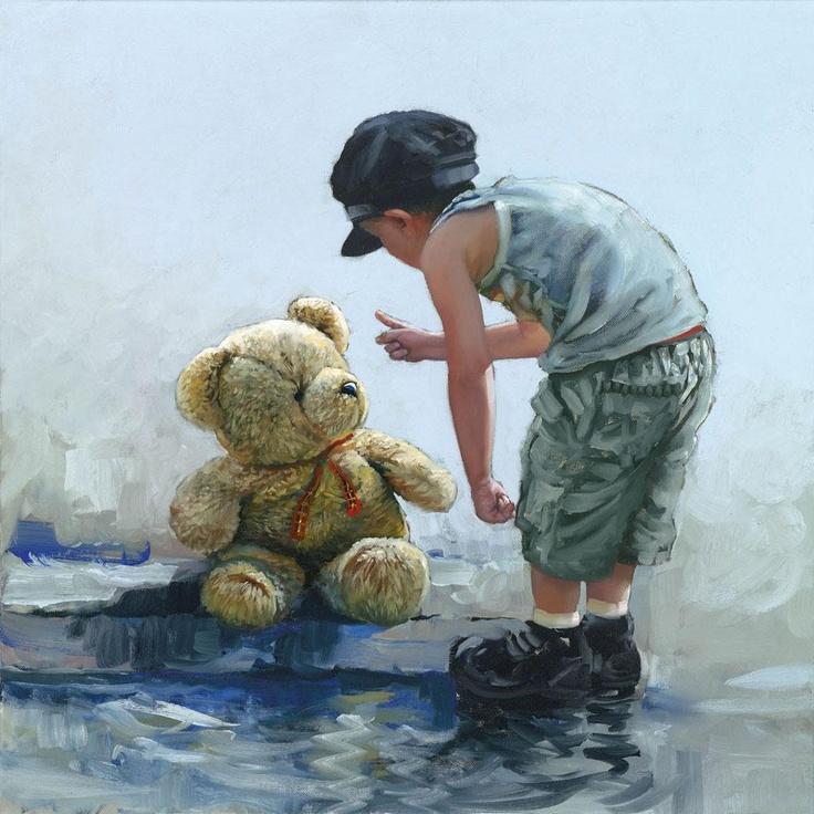 Little boy reprimands teddy bear